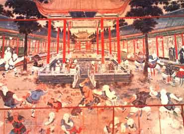 Wandgemälde im Shaolintempel (Nordseite) in der Hunanprovinz in China